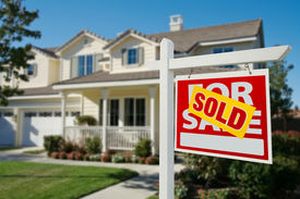 stock photo of real-estate agent  - Sold Home For Sale Real Estate Sign in Front of New House - JPG