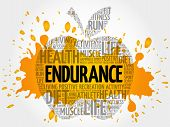 Endurance Apple Word Cloud Collage, Health Concept Background poster
