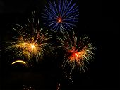 image of 24th  - Colorful fireworks over dark sky displayed during Barcelona Patron Saint La Merce  - JPG