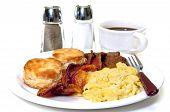 stock photo of buttermilk  - Big country breakfast with scrambled eggs bacon sausage buttermilk biscuits and coffee - JPG