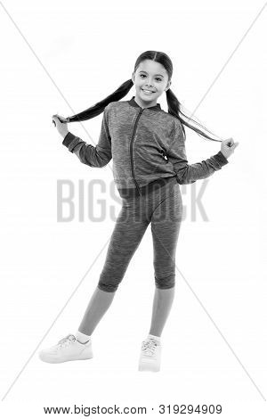 poster of Working Out With Long Hair. Girl Cute Kid With Ponytails Wear Sport Costume Isolated On White. Stay