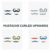 Mustache Curled Upwards Icon Set. Four Elements In Diferent Styles From Barber Shop Icons Collection poster