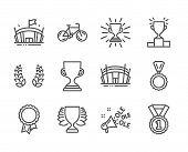 Set Of Sports Icons, Such As Arena Stadium, Award Cup, Arena, Best Rank, Bicycle, Winner Podium, Win poster