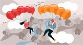 Man And Woman Fly Down With Parachute. Vector Illustration. Free Time. Development And Hobby. Rest F poster