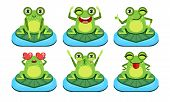 Funny Frog Characters Set, Cute Amphibian In Different Activities Vector Illustration poster
