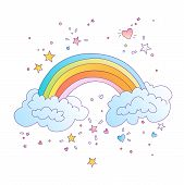 Cute Vector Colored Rainbow With Clouds And Decorative Stars And Elements Around. Cute Cartoon Rainb poster
