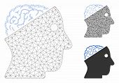 Mesh Open Brain Model With Triangle Mosaic Icon. Wire Frame Polygonal Mesh Of Open Brain. Vector Mos poster