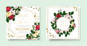 Wedding Floral Golden Geometric Triangular Frame Invitation Card Save The Date Design With Pink Red  poster