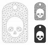 Mesh Skull Label Model With Triangle Mosaic Icon. Wire Frame Polygonal Mesh Of Skull Label. Vector M poster