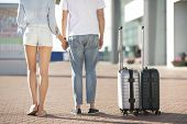 Young Couple With Suitcases Arriving At Airport And Waiting For Flight, Back View, Crop poster