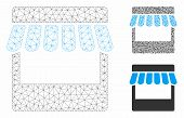Mesh Store Model With Triangle Mosaic Icon. Wire Frame Triangular Mesh Of Store. Vector Mosaic Of Tr poster