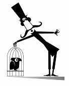 Mustache Man In The Top Hat Holds A Cage With A Bird Isolated Illustration. Cartoon Long Mustache Ma poster