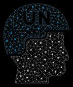 Bright Mesh United Nations Soldier Helmet With Lightspot Effect. Abstract Illuminated Model Of Unite poster
