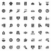 Restaurant Food Delivery Vector Icons Set, Modern Solid Symbol Collection, Filled Style Pictogram Pa poster