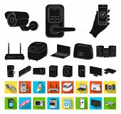 Smart Home Appliances Black, Flat Icons In Set Collection For Design. Modern Household Appliances Bi poster