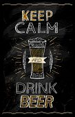 Keep calm and drink beer chalkboard quote poster, rasterized version poster