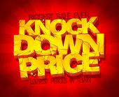 Knock down price banner, lowest prices, biggest sale, typographic design with golden letters, raster poster