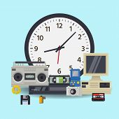 Old Wall Clock And Retro Technology Multimedia Vector Illustration. Mechanical Clock And Multimedia  poster