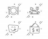 Parking Security, Yummy Smile And Restaurant Food Line Icons Set. Wallet Sign. Video Camera, Emotico poster