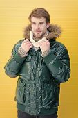 The Perfect Choice For Cold Days. Casual Fashion Coat For Cold Winter Conditions. Handsome Man Weari poster