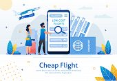 Cheap Flights, Airline Sale Search Mobile App, Airplane Tickets Booking Service Trendy Flat Vector A poster