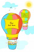 illustration of kid in hot air balloon with copy space