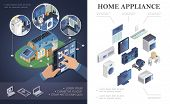Isometric Home Appliances Concept With Air Conditioner Jalousie Music Center Microwave Toaster Tv Wa poster