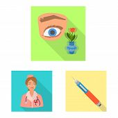 Vector Design Of Symptom And Disease Logo. Set Of Symptom And Treatment Vector Icon For Stock. poster