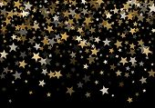 Magic Gold Vector Star Background. Gold Falling Sparkle Pattern On Black. Christmas, New Year, Birth poster