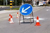 Work On The Road. Street Signs And Road Marking. Traffic Signs For Signaling. Road Maintenance, Unde poster