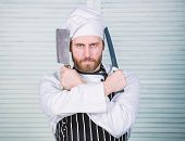 Ready To Work. Confident Man In Apron And Hat Hold Knife. Bearded Man Loves Eating Food. Cook In Res poster