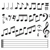 Music Notes Icon On White Background. Flat Style. Music Notes Icon For Your Web Site Design, Logo, A poster