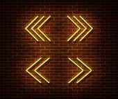 Neon Navigation Signs Vector Isolated On Brick Wall. Next, Previous Light Symbol, Decoration Effect. poster