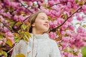 Kid Enjoying Pink Cherry Blossom. Tender Bloom. Bright And Vibrant. Soft And Tender. Pink Is On My M poster