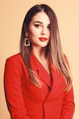 Red Lips My Best Accessory. Girl Confident Business Lady Formal Red Jacket. Gorgeous And Stylish. Im poster