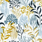 Ocean Corals Seamless Pattern. Kelp Laminaria Seaweed Algae Background. Underwater Plants Textile Pr poster