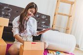 Asian Business Woman Startup Small Business Entrepreneur Sme Distribution Warehouse With Parcel Mail poster
