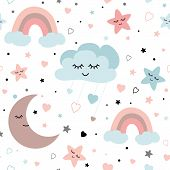 Cute Sky Seamless Pattern Baby Vector Design With Smiling Sleeping Moon Stars Rainbow Clouds. Baby I poster