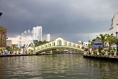 picture of malacca  - River view of the Old Bus Station Bridge Malacca Malaysia - JPG
