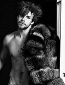Sexy Macho Tousled Hair Coming Out Bedroom Door. Richness And Luxury Concept. Bachelor Rich Lover. G poster