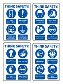 Safety Ppe Must Be Worn Sign Isolate On White Background,vector Illustration poster