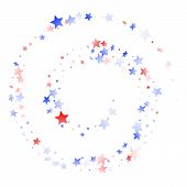 American Memorial Day Stars Background. Holiday Confetti In Us Flag Colors For Patriot Day.  Solemn  poster