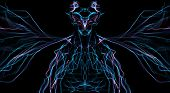 Fractal Colorful Silk Wave Demon, Creature With Wings On Black Color poster