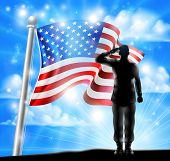 A Silhouette Soldier Saluting With American Flag In The Background, Design For Memorial Day Or Veter poster