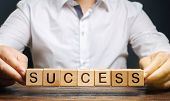 Wooden Blocks With The Word Success And Businessman. Successful Business Concept. Achieving The Goal poster