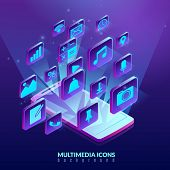 Isometric Multimedia Icons Mobile Phone Illustration. Social Media Isometric Icons Flying Out Of The poster