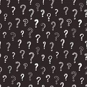 Cute Vector Question Marks Seamless Background. Abstract Ornament White On Black Background. Romanti poster