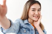 Close-up Flirty Lovely Tender Asian Blond Girl Extend Arm Hold Smartphone Taking Selfie Look Sweet S poster