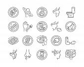 Allergy And Symptoms Line Black Icons Set. Dermatological, Infectious Disease. Food Intolerance, Poi poster