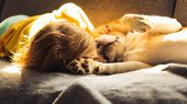 Cute Baby Girl Cuddle With Beagle Dog. Closeup, Shallow Dof. poster